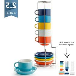 Sweese 4311 Porcelain Stackable Espresso Cups Saucers Metal