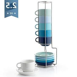 Sweese 4312 Porcelain Stackable Espresso Cups with Saucers a