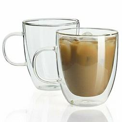 Sweese 4602 Glass Coffee Mugs12.5 oz Double Walled Insulated
