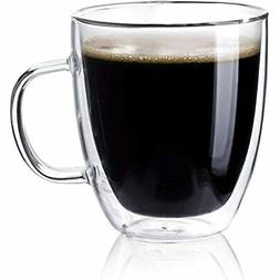 4609 Large Glass Coffee Mugs - 16 Oz Double Walled Insulated