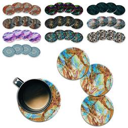 4pc Set Marble Mandala ROUND Ceramic Stone Coasters Mug Tea