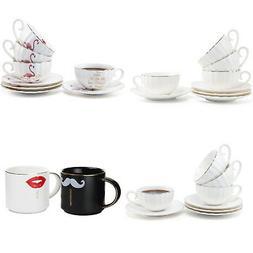 4Pcs Ceramic Mug Coffee Milk Tea Cup Porcelain With Saucer H