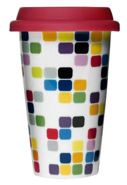 Sagaform 5015918 Double Wall Porcelain Pix Take Away Mug wit