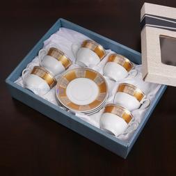 6 Cups & Saucer Mini Mugs 2 Oz Espresso Coffee Gift Tacitas