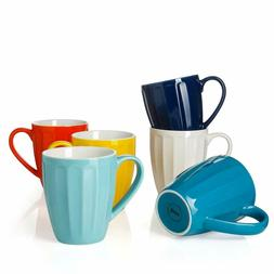 Sweese 6209 Porcelain Fluted Mugs - 14 Ounce for Coffee, Tea