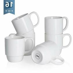Sweese 6218 Porcelain Stackable Mug Set - 16 Ounce for Coffe