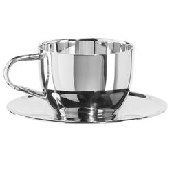 Oggi 6595.0 Cup /& Saucer Double Wall Cappuccino Cup with Saucer 8 oz Stainless