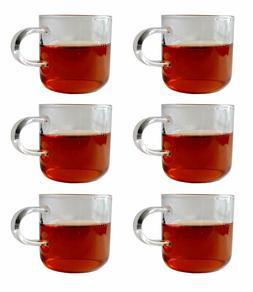 6pcs Set Tea cup 4.7oz clear Glass Cup Tea Coffee wine Mug w