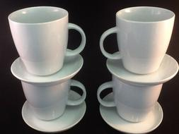 8 Pc 12 oz White Porcelain Mug Saucer.Set 4 FREE SPOONS Coff