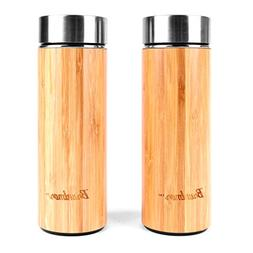Bruntmor, Natural Bamboo Double Wall Vacuum Insulated 12 oz