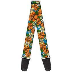 "Buckle-Down GS-W30871 ""Hibiscus Collage Blue/Orange/Yellow"""
