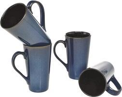 Culver Serenity Cafe Grande Ceramic Mug, 16-Ounce, Blue, Set