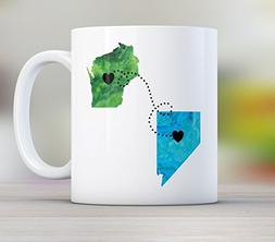 Dad, Personalized Long Distance State Mug Gift with Father Q