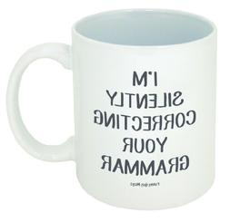 Funny Guy Mugs I'm Silently Correcting Your Grammar Ceramic