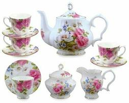 Gracie Bone China 11-Piece Tea Set, Pink Grace's Rose
