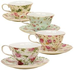 Gracie China by Coastline Imports 33708B Rose Chintz 8-Ounce