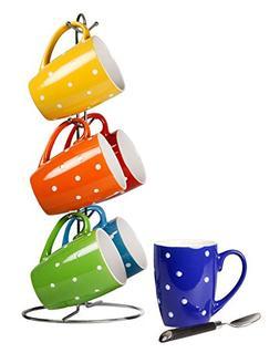 Home Basics 6-Piece Mug Stand with Polka Dot Print Mug