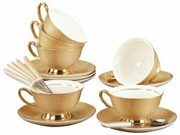 Jusalpha Fine China Tea Cup and Saucer Coffee Cup Set with S