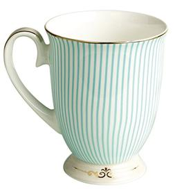 Jusalpha Royal Fine Bone China Light Blue Stripe Coffee Mug/