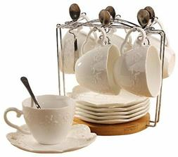 Jusalpha white China Tea Cup and Saucer Coffee Cup Set with