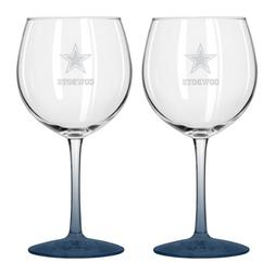 NFL Dallas Cowboys Satin Etch Balloon Wine Glass, 20-ounce,