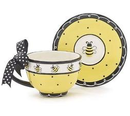 Whimsical Honey Bumble Bee Teacup and Saucer Set Adorable Se