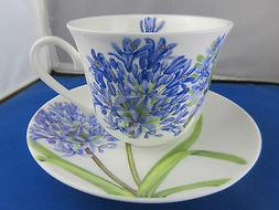 AGAPANTHUS FINE BONE CHINA  BREAKFAST CUP SAUCER, ROY KIRKHA