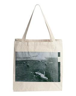 American ships off Iwa Jima, strategic island outpost. 1945.