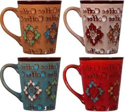 """Home Essentials Assorted Colors 13 Oz. Embossed """"COFFEE"""" Flo"""