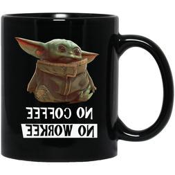 Baby Yoda No Coffee No Workee Funny Black Coffee Mug