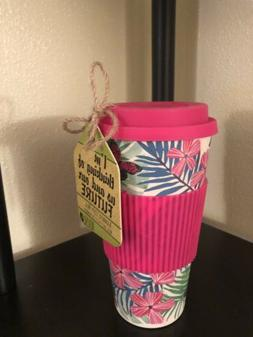 Cambridge Reuse Me Bamboo Sippy Mug Travel Cup Floral Butter
