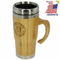 Bamboo Thermos Travel Mug Tumbler with Handle for Coffee Tea