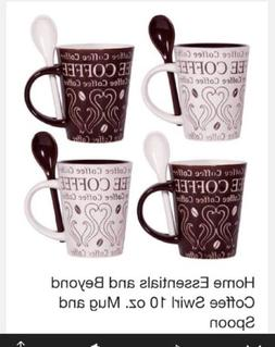 Gibson Bareggio 8pc Coffee with Spoon Set 4 Mug Designs Mr. Coffee Brand New