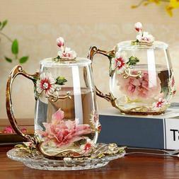 Beauty And Novelty Enamel Coffee Cup Mug Flower Tea Glass Cu