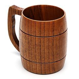Beer Mug, 16 OZ Handmade Eco-friendly Wooden Mugs With Handl