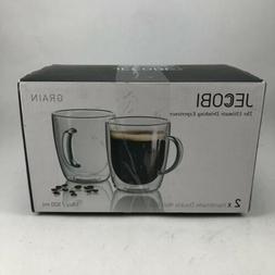JECOBI 17 oz Large Coffee Mug - Double Wall Insulated Glass,