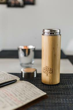 BAMBOO Tea cup, Infuser, thermos and Coffee Travel Mug!