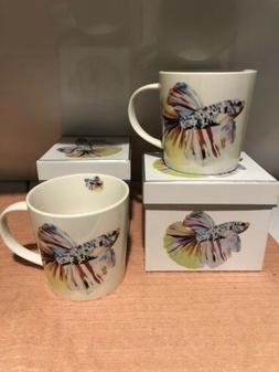 Betta Fish Set Of 2 Bone China Coffee Mugs
