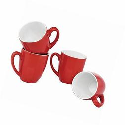 Culver 14-Ounce Bistro Ceramic Mug, Set of 4 Red