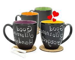 Bistro Coffee Mug Set of 4 - Large 14 Ounce Ceramic - Tea La