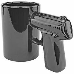 Black Pistol Gun Mug Coffee Tea Beverage Cup Novelty Handgun