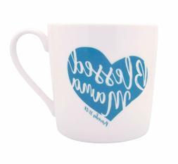 Blessed Mama Teal Heart 14 Ounce Ceramic Stoneware Coffee Mu