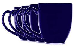 14oz Blue Cobalt Mugs for Coffee or Tea. Large Handles and C