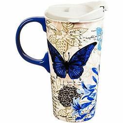 Blue Floral Study Ceramic Travel Coffee Mug, 17 Ounces Cups,