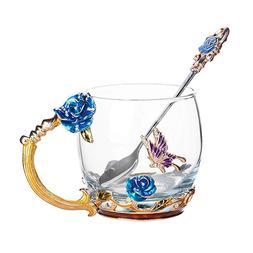 Blue Rose Glass <font><b>Coffee</b></font> <font><b>Mugs</b>