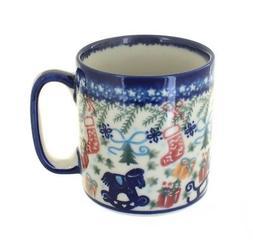 Blue Rose Polish Pottery Christmas Bounty Coffee Mug