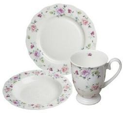Bone china 12 Piece Pink Rose Dinnerware Set Service for 4 b