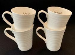 MIKASA Bone China CIARA Set Of 4 COFFEE MUGS White NEW WITH
