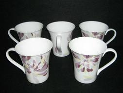 222 Fifth Bone China Coffee Cup Mug Francine Purple Set of 5