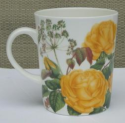 STECHCOL BONE CHINA COFFEE TEA MUG YELLOW ROSES bouquet NEW